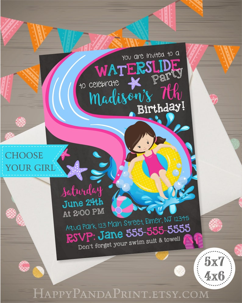 WATER SLIDE Invitation Girls Water Slide Birthday Invitation