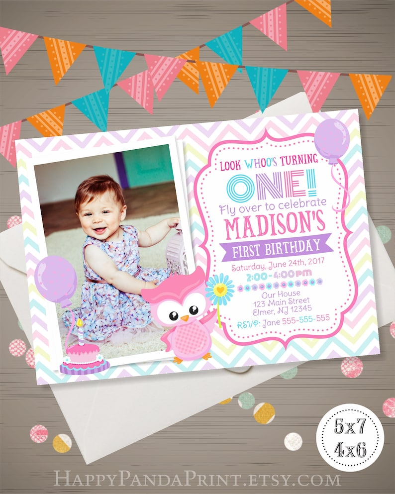 OWL Birthday Invitation With PHOTO Girl First