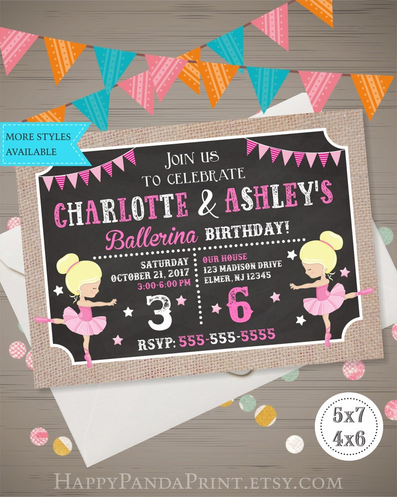 Joint Ballerina Invitation Birthday Party Siblings
