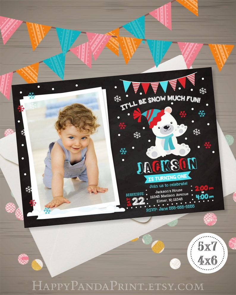 Polar Bear Birthday Invitation With Photo Snow Much Fun