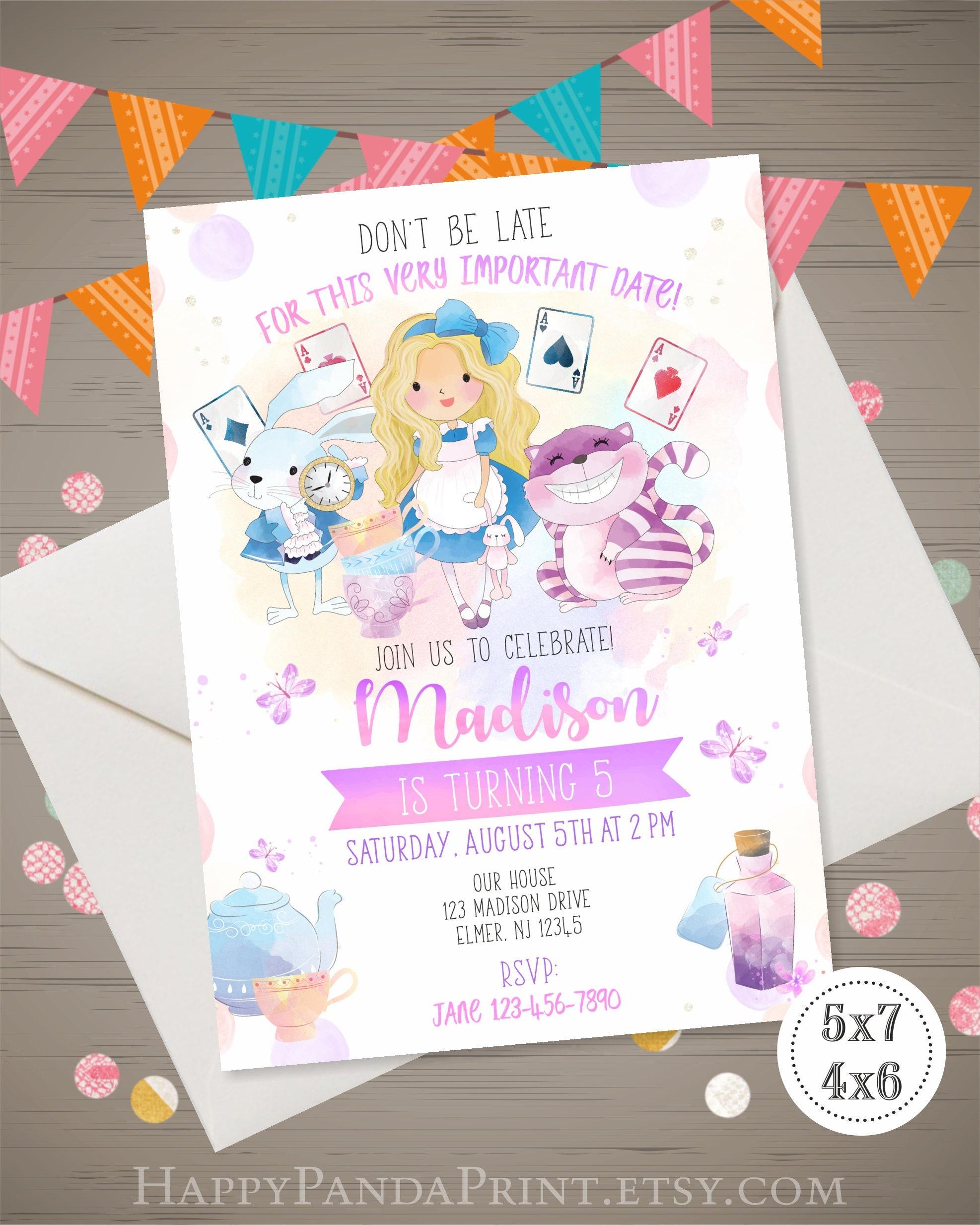 Alice In Wonderland Invitation Alice In Wonderland Birthday Etsy