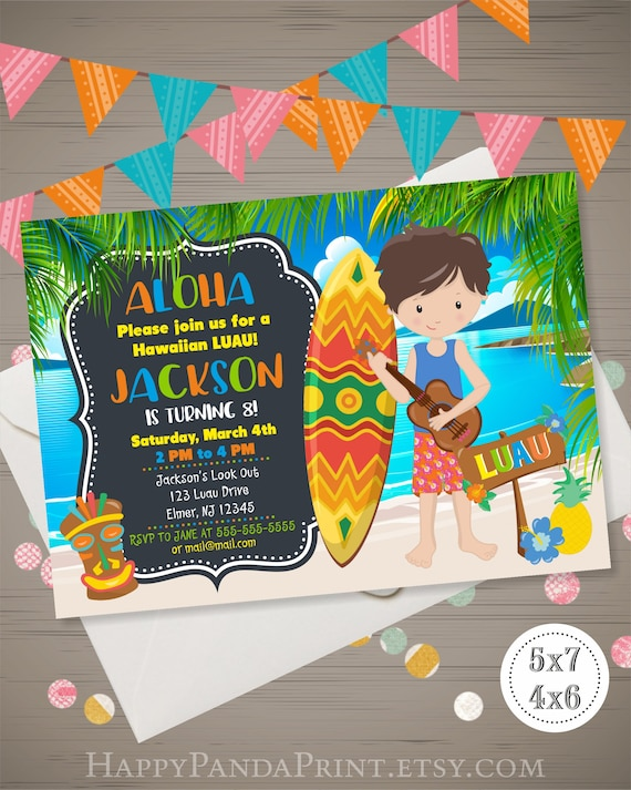 Boys Luau Invitation Hawaiian Birthday Invitation Aloha Etsy