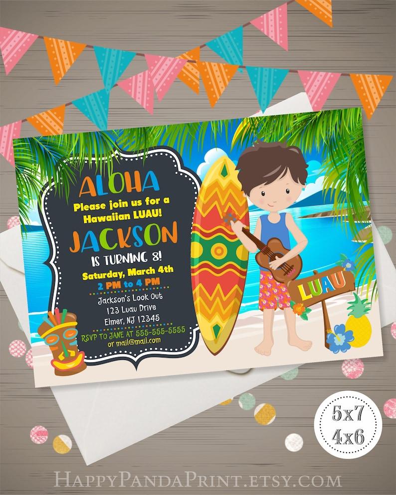 Boys Luau Invitation Hawaiian Birthday Aloha Invite Party Summer Pool Tropical Beach