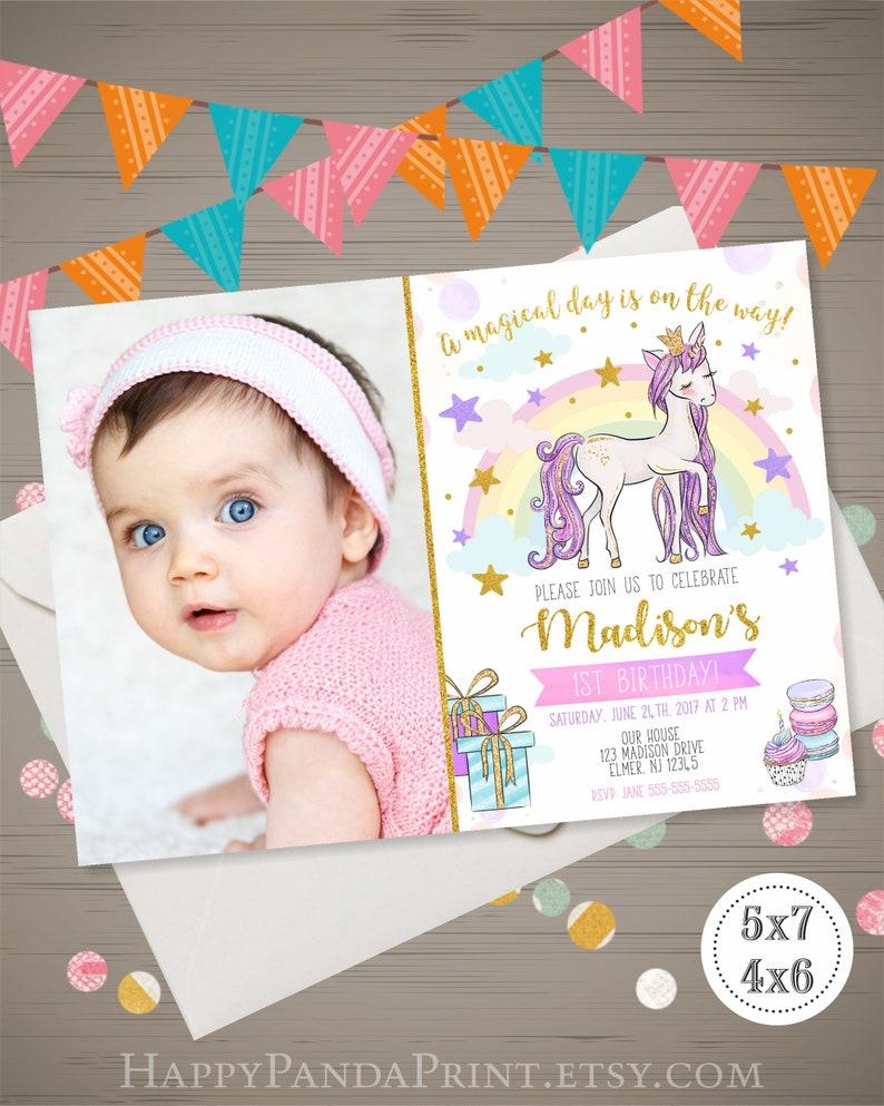 Unicorn Birthday Invitation With Photo