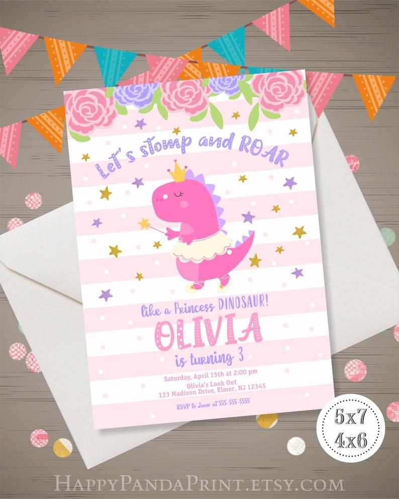 Girl Dinosaur Birthday Invitation Princess Invite Dino Mite Purple Pink Stripes