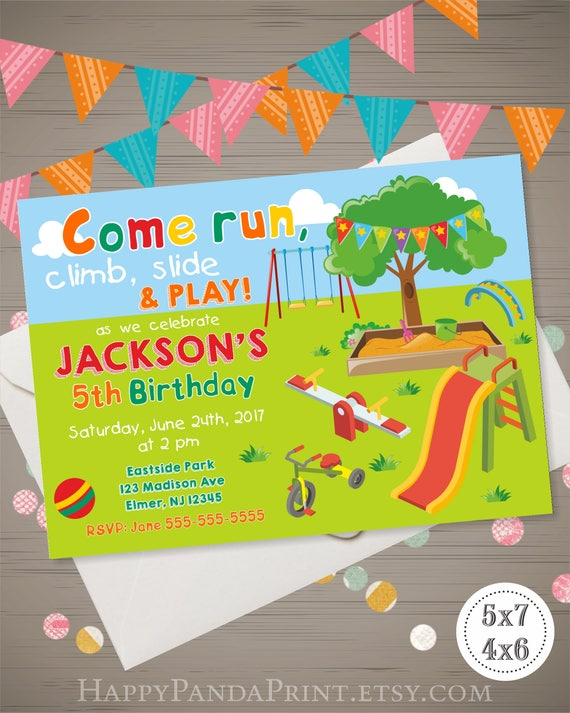 Playground Birthday Invitation Park Outdoor