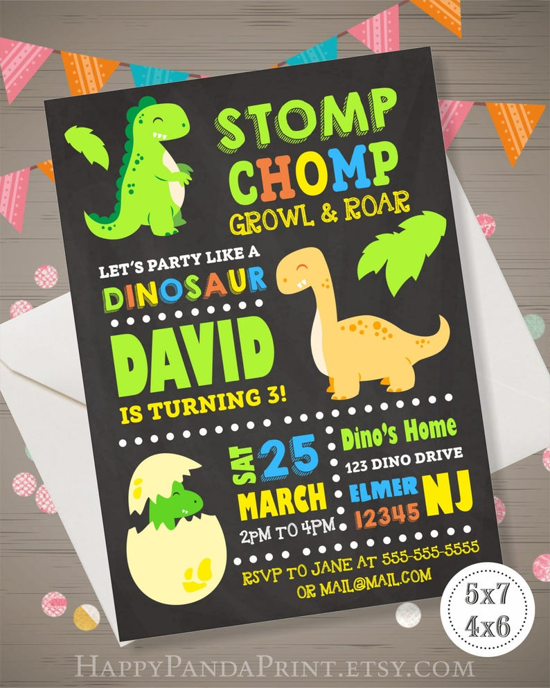 Dinosaur Invitation Birthday