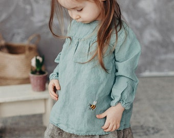 Embroidered Linen Tunic Louise with Long Sleeves for girls