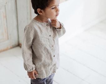 VintageNatural White Linen Kids Boys girls shirt unisex flax shirt for 8-9 years old 100/% linen