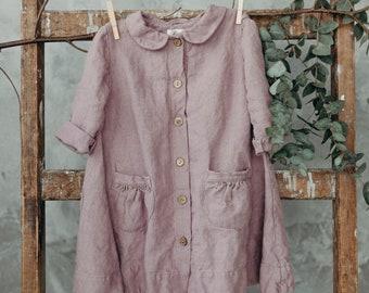 Linen Coat for Girls, Pink Coat, Washed Linen, Toddler Coat, Coat with Pockets