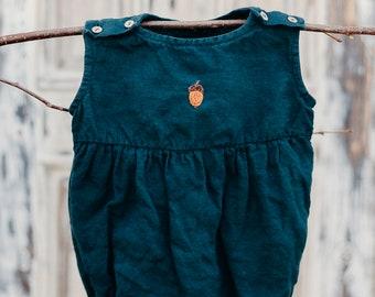 af2319b0a890 Linen Romper, Hand Embroidery, Dark Green Baby Romper, Linen Clothing, Linen  Baby Romper, Linen Baby Clothes, Baby Girl Romper, Boy Romper