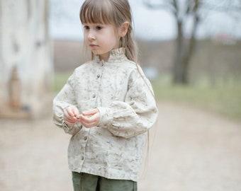 Floral Linen Blouse Giulia for Girls