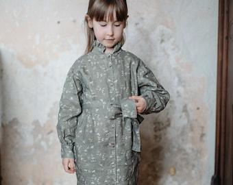 Floral Linen Shirt Dress Valentina for Girls