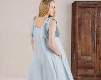 Linen Basic Dress Zoe  Linen Strap Dress for Women  more colors available