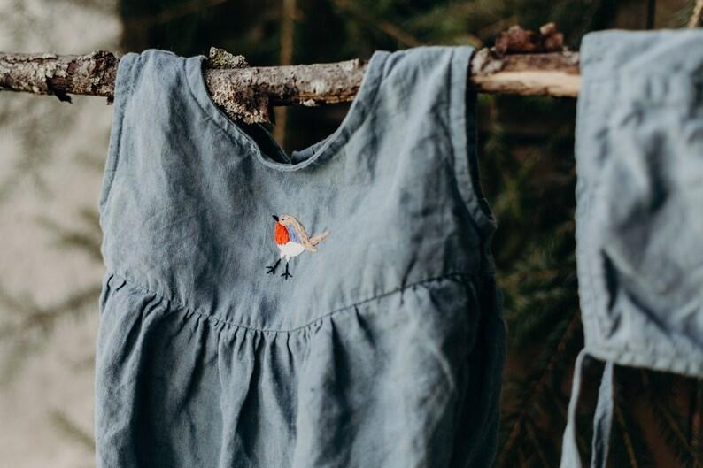 b8788c5bc83b Linen Romper Hand Embroidery Dusty Blue Baby Romper Linen | Etsy