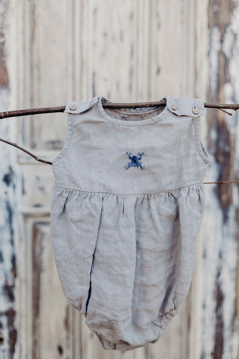 cd7473898d4a Linen Romper Hand Embroidery Light Grey Baby Romper Linen | Etsy