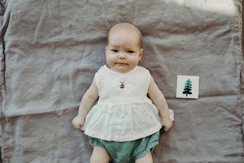 Ready to Ship  0-3 months  Sleeveless Tunic  White Tunic  Baby Linen Tunic
