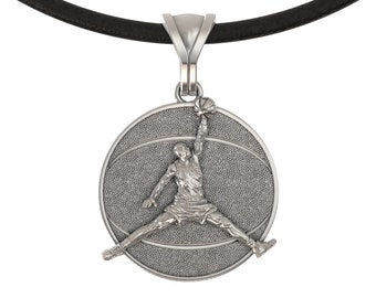 4c7fe90ccf13 Basketball pendant Michael Jordan necklace Coach gift player 925 Sterling  silver sport Jumpman jewelry Basketball gift for man boyfriend