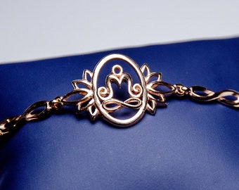 Lotus flower jewelry Lotus wish bracelet for women yoga gift Sterling silver Gold Plated Meditation Om bracelet Yoga themed jewelry gift