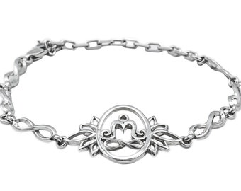 Lotus bracelet for women yoga gift Sterling silver Lotus flower jewelry Meditation Om bracelet Yoga themed jewelry Lotus wish bracelet gift
