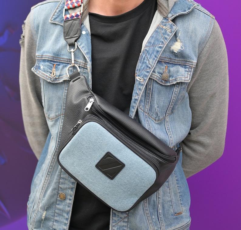 belt bag Unisex fanny pack fanny pack women bum bag festival bag hip bag cross body Black stud Vegan leather fanny pack waist bag
