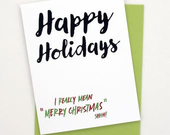 holiday card, merry christmas greeting card, happy holidays