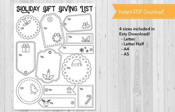 Holiday Gift List Bullet Journal Planner Insert Christmas Etsy