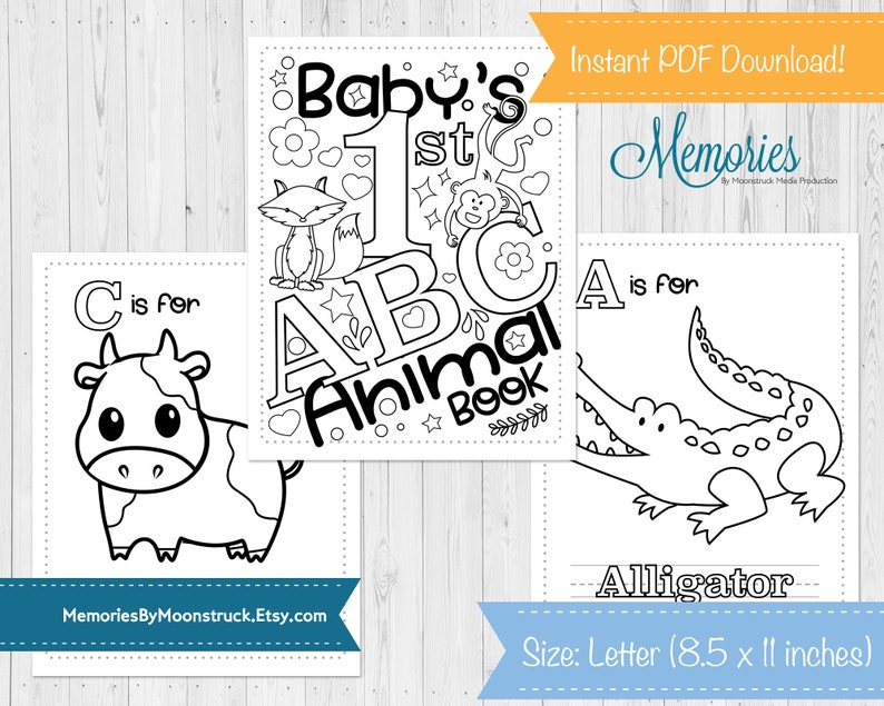Baby S First Abc Animal Coloring Book Baby Shower Game 8 5x11 Inches