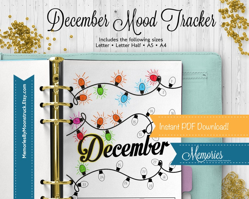 December Mood Tracker Journal Insert