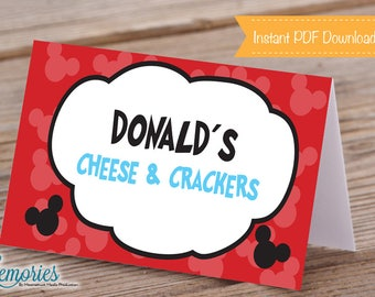 Mickey Mouse Themed Food Labels, Mickey Birthday, Mickey Place Cards, Printable Mickey Decor, Mickey Party,