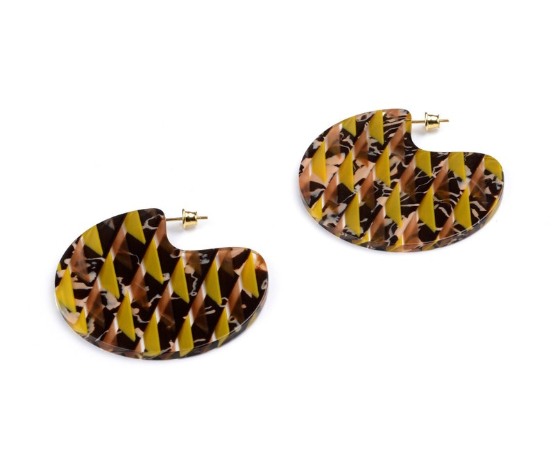 Turtle Story Brigitte Earrings  Handmade from Italian Acetate image 0