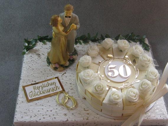 Edles Geldgeschenk Zur Goldenen Hochzeit Brautpaartorte