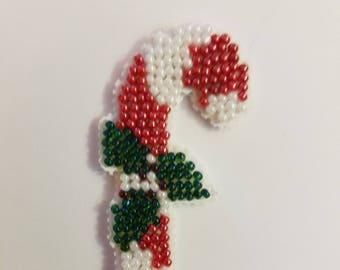Candy Cane Bead Cross Stitch