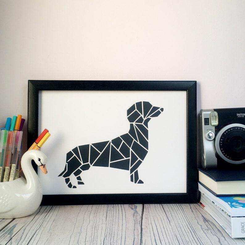 Dachshund print. Sausage dog wall art. Hand printed poster. image 0