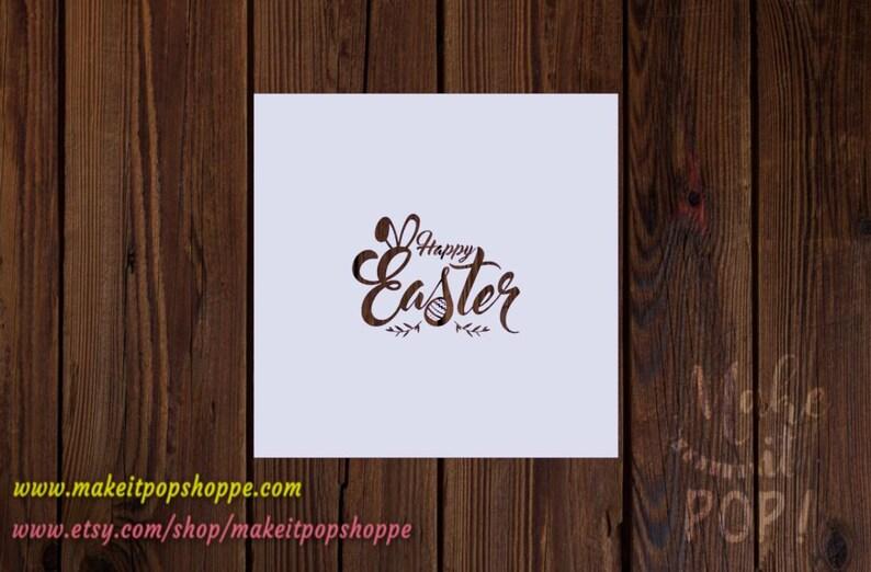 Happy Easter with Ears Silk Screen Stencil Script Font Mesh