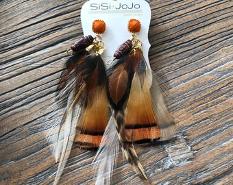 Orange ~ Brown ~ Feathers ~ Statement ~ Transitional ~ Spring ~ Gift