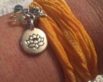 Yellow Lotus Silk Wrap Bracelet