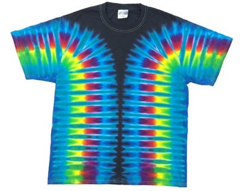 Tie Dye T-Shirt - Stripes Aqua Black