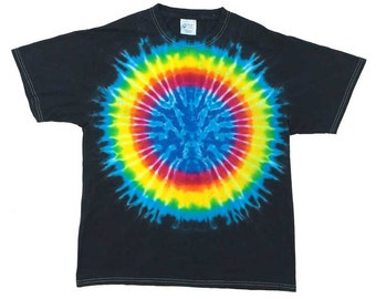 Tie Dye T-Shirt - Earth Rainbow Black