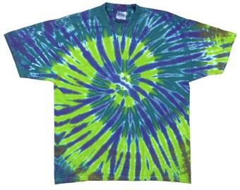 Tie Dye T-Shirt - Spiral Plum Green Teal