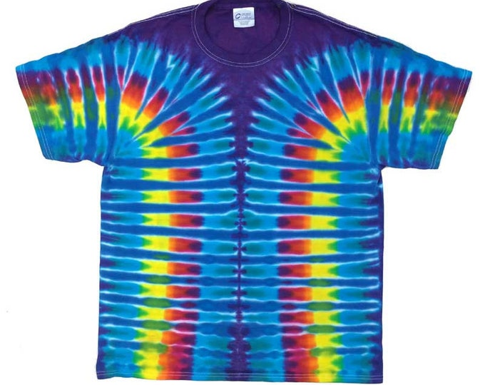 Tie Dye T-Shirt - Stripes Cerulean Plum