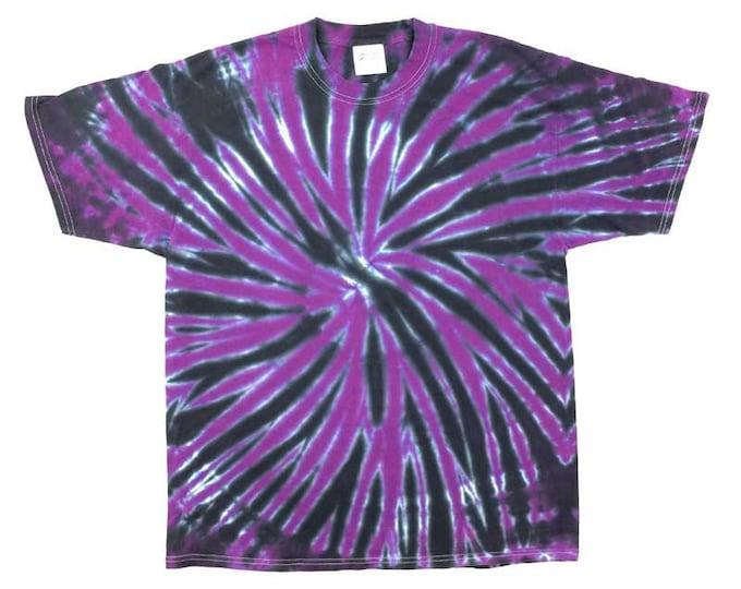 Tie Dye T-Shirt - Spiral Plum Black