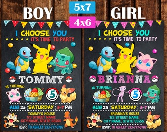 Pokemon Invitation Birthday Party Girl Boy Printable