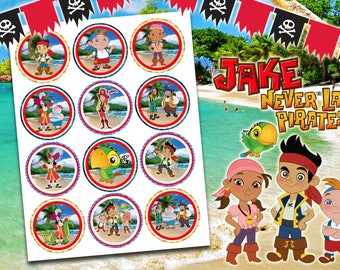 Jake And The Neverland Pirates Cupcake toppers, Jake And The Neverland Pirates Cupcake topper printable, Jake Cupcake Topperss.