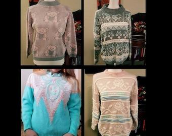 Vintage Kawaii Pastel Sweaters - Various