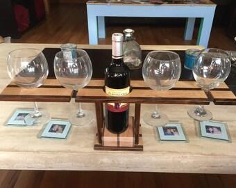 Walnut & Maple Four Glass Wine Bottle Holder Caddy Server Coasters Wood