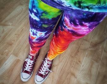 6b42bab467fc94 Rainbow Tie Dye Leggings | Women's Hippie Pants | Festival Clothing