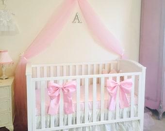beautiful princess crib bow neutral baby bedding crib bedding faux silk crib cot bow baby girl bedding curtain tie back custom made - Baby Girl Bedding