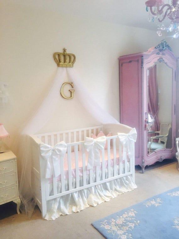 Beautiful Princess Crib Bows: Neutral baby bedding, crib bedding, faux silk  crib cot bow, baby girl bedding, curtain tie back, custom made