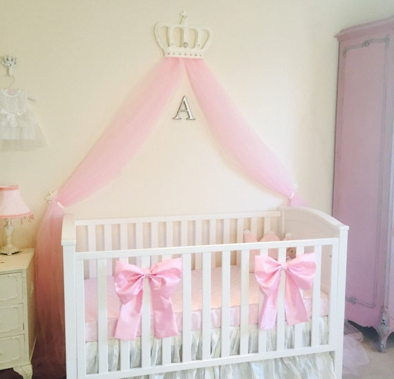 Beautiful Princess Crib Bows: Neutral baby bedding, crib bedding, faux silk  crib cot bow, baby girl bedding, curtain tie back, custom made
